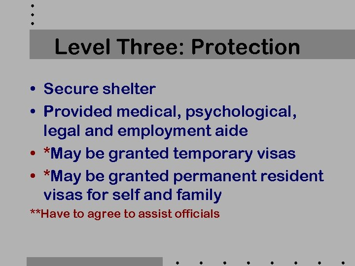 Level Three: Protection • Secure shelter • Provided medical, psychological, legal and employment aide