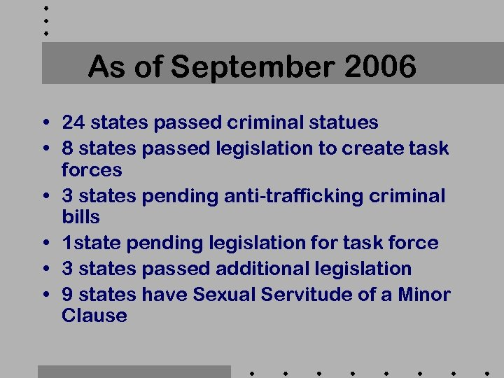 As of September 2006 • 24 states passed criminal statues • 8 states passed