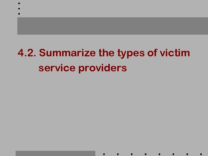 4. 2. Summarize the types of victim service providers