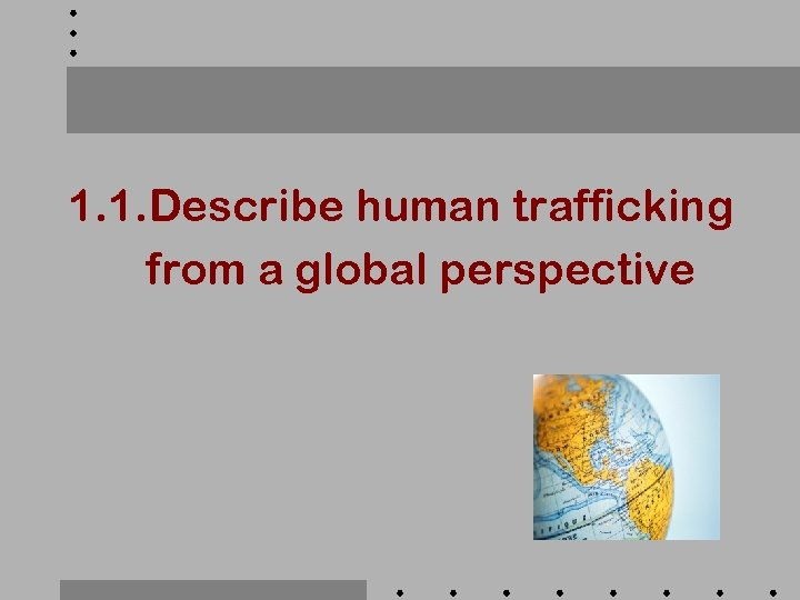 1. 1. Describe human trafficking from a global perspective