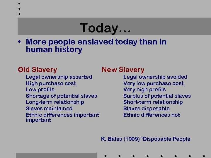 Today… • More people enslaved today than in human history Old Slavery Legal ownership