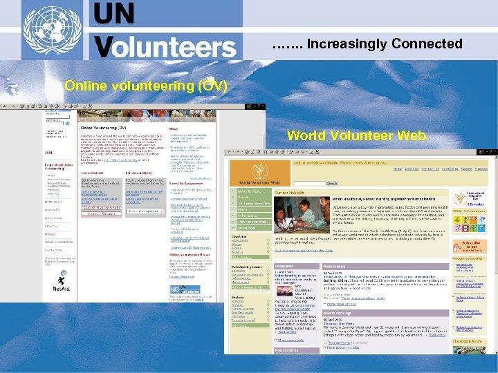 ……. Increasingly Connected Online volunteering (OV) World Volunteer Web