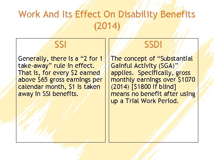 Work And Its Effect On Disability Benefits (2014) SSI SSDI Generally, there is a