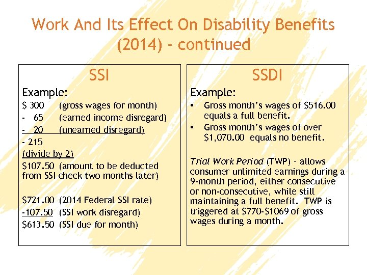 Work And Its Effect On Disability Benefits (2014) - continued SSI SSDI Example: $