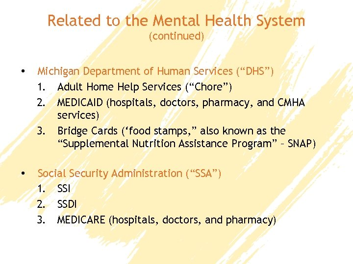 """Related to the Mental Health System (continued) • Michigan Department of Human Services (""""DHS"""")"""