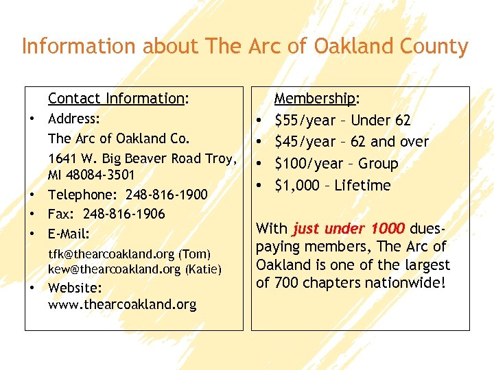 Information about The Arc of Oakland County Contact Information: • Address: The Arc of