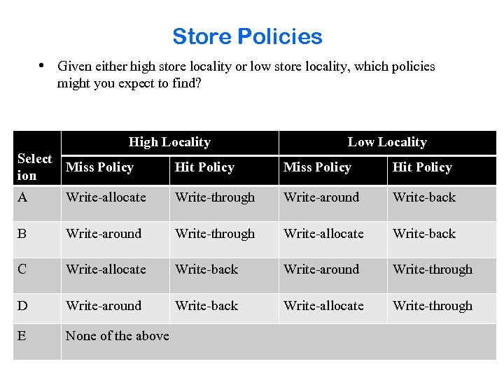 Store Policies • Given either high store locality or low store locality, which policies
