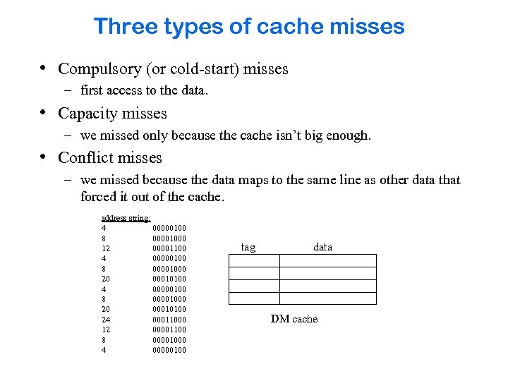 Three types of cache misses • Compulsory (or cold-start) misses – first access to