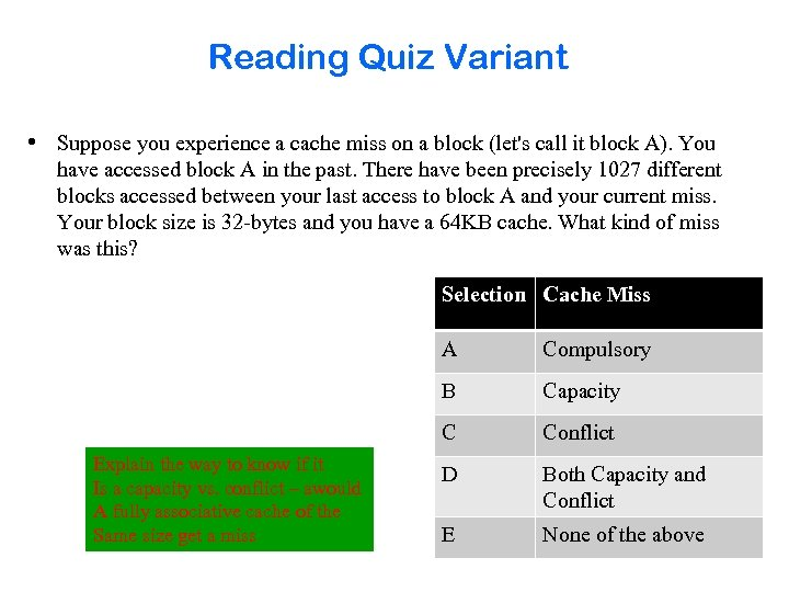 Reading Quiz Variant • Suppose you experience a cache miss on a block (let's