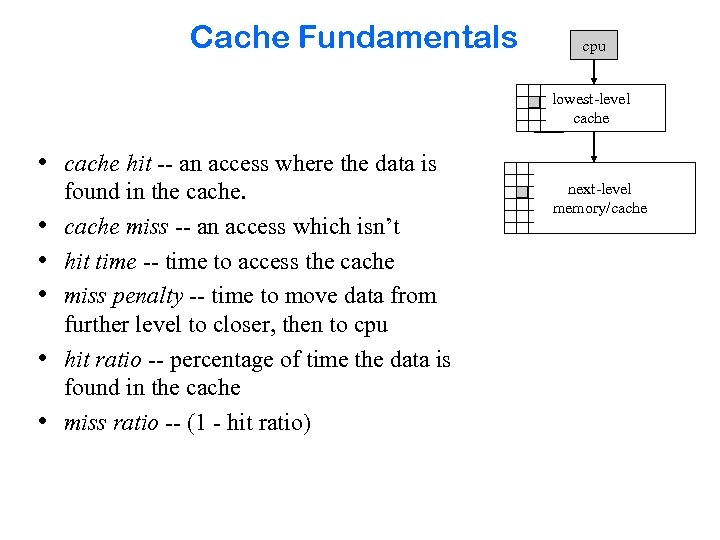 Cache Fundamentals cpu lowest-level cache • cache hit -- an access where the data