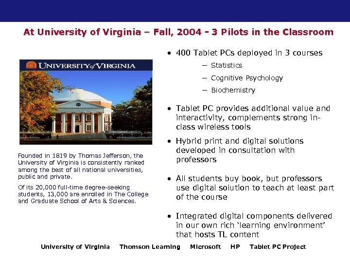 At University of Virginia – Fall, 2004 - 3 Pilots in the Classroom •