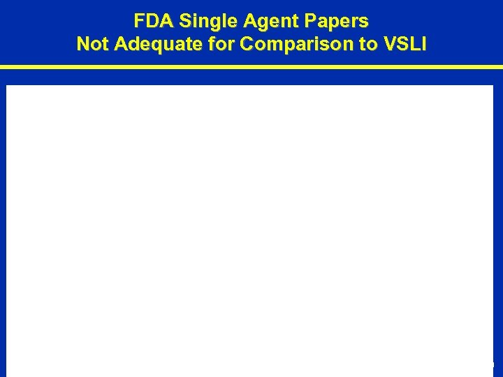 FDA Single Agent Papers Not Adequate for Comparison to VSLI P-10