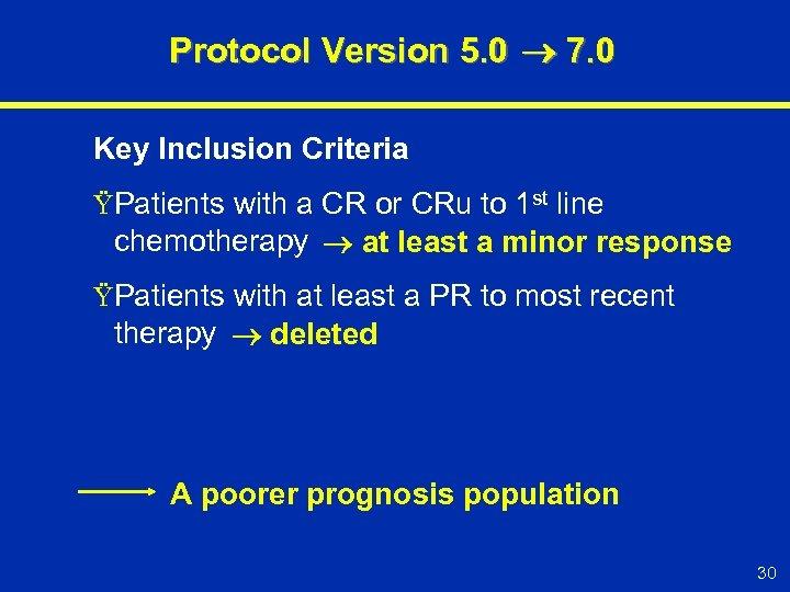 Protocol Version 5. 0 7. 0 Key Inclusion Criteria ŸPatients with a CR or