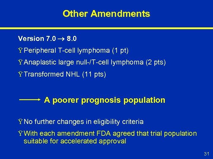 Other Amendments Version 7. 0 8. 0 Ÿ Peripheral T-cell lymphoma (1 pt) Ÿ