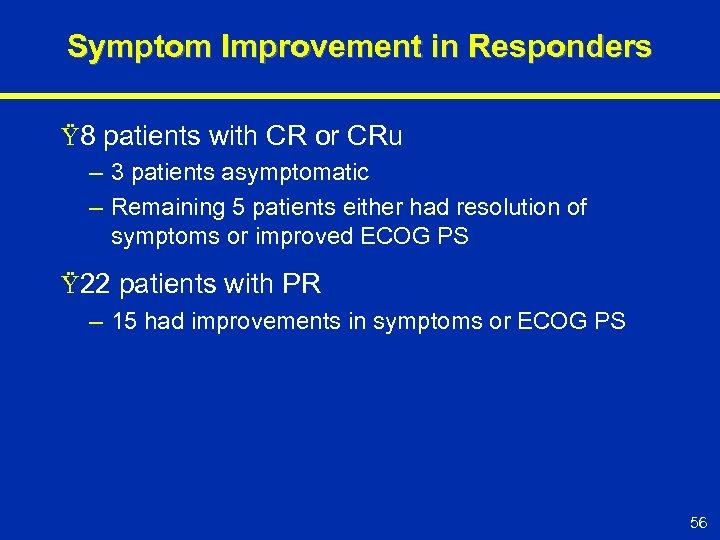 Symptom Improvement in Responders Ÿ 8 patients with CR or CRu – 3 patients