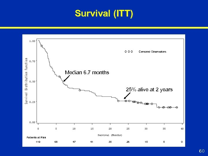 Survival (ITT) Censored Observations Median 6. 7 months 25% alive at 2 years Patients
