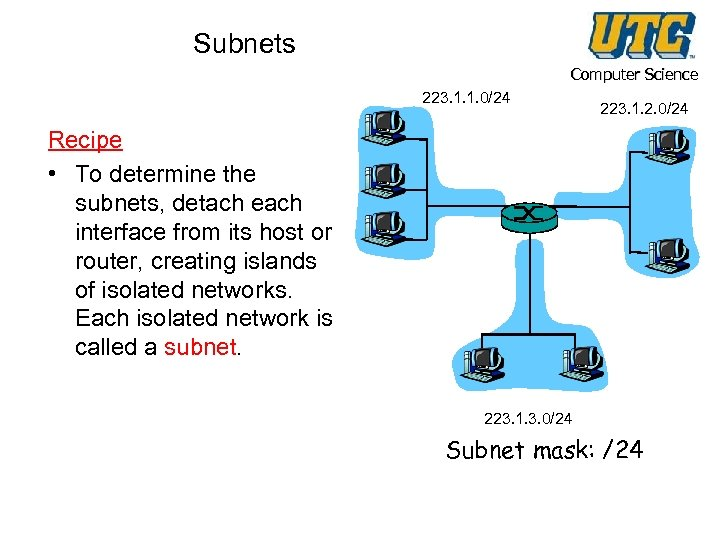 Subnets Computer Science 223. 1. 1. 0/24 223. 1. 2. 0/24 Recipe • To