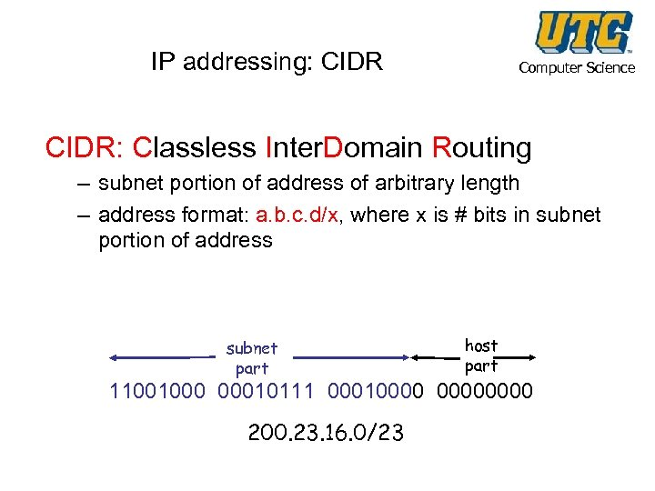 IP addressing: CIDR Computer Science CIDR: Classless Inter. Domain Routing – subnet portion of