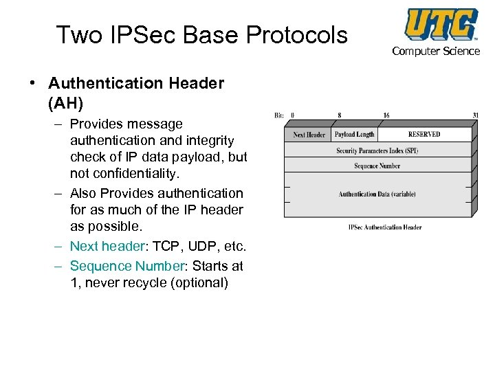 Two IPSec Base Protocols • Authentication Header (AH) – Provides message authentication and integrity