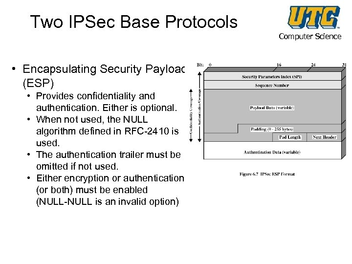Two IPSec Base Protocols • Encapsulating Security Payload (ESP) • Provides confidentiality and authentication.