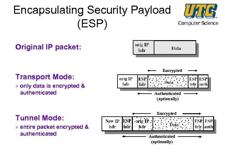 Encapsulating Security Payload (ESP) Computer Science Original IP packet: Transport Mode: Ø only data