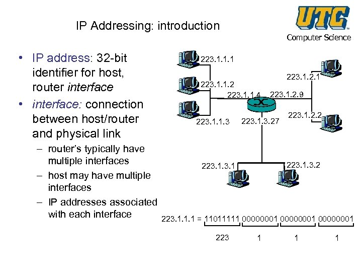IP Addressing: introduction • IP address: 32 -bit identifier for host, router interface •