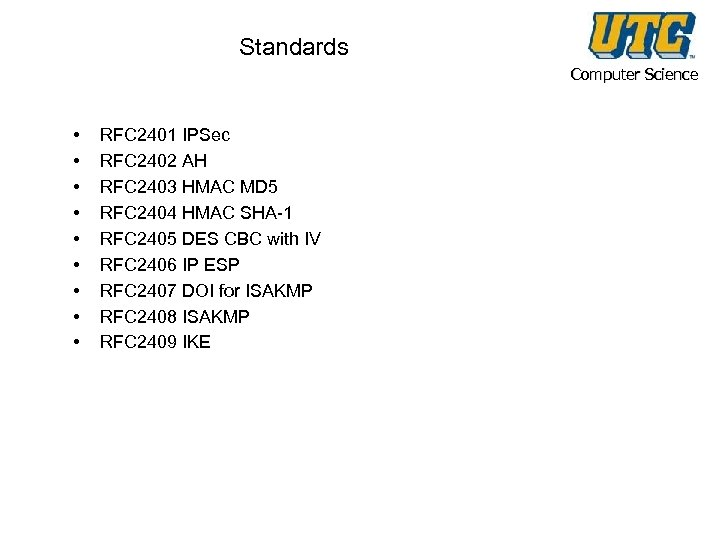 Standards Computer Science • • • RFC 2401 IPSec RFC 2402 AH RFC 2403