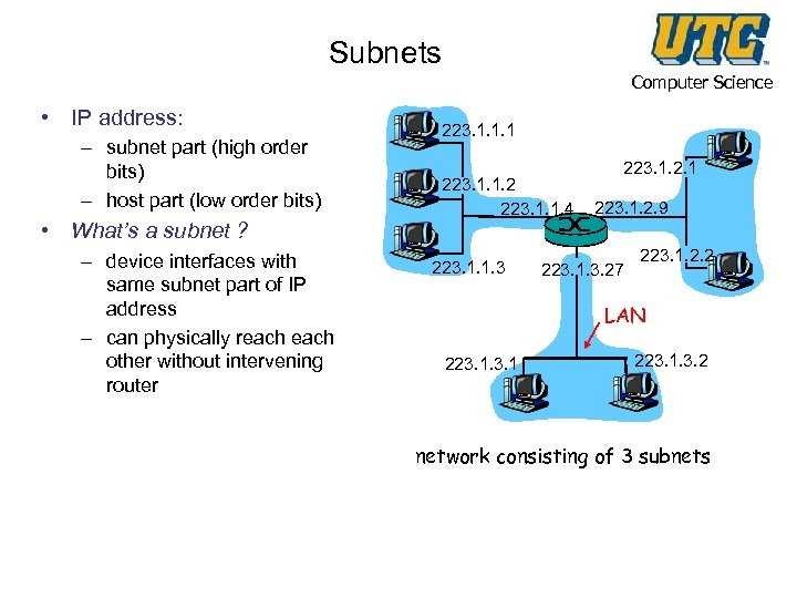 Subnets Computer Science • IP address: – subnet part (high order bits) – host