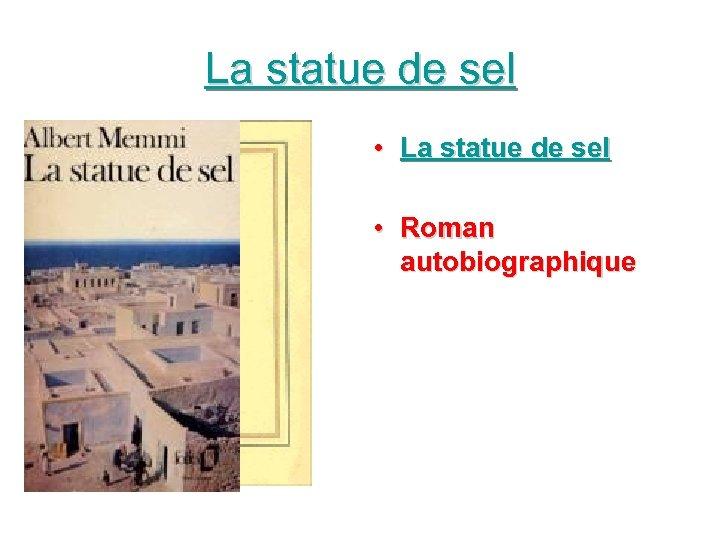 La statue de sel • Roman autobiographique