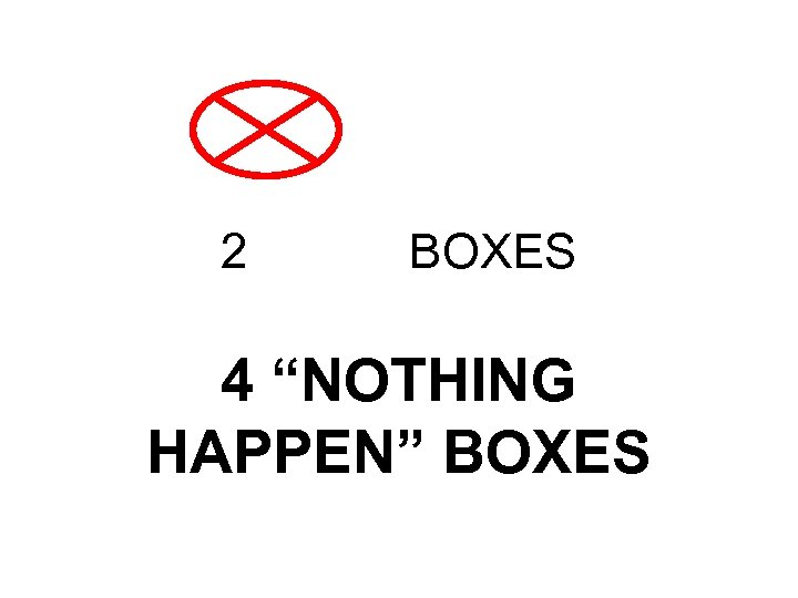 "2 BOXES 4 ""NOTHING HAPPEN"" BOXES"