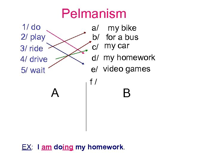 Pelmanism 1/ do 2/ play 3/ ride 4/ drive 5/ wait A a/ my