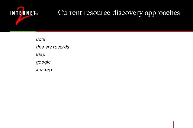 Current resource discovery approaches uddi dns srv records ldap google xns. org