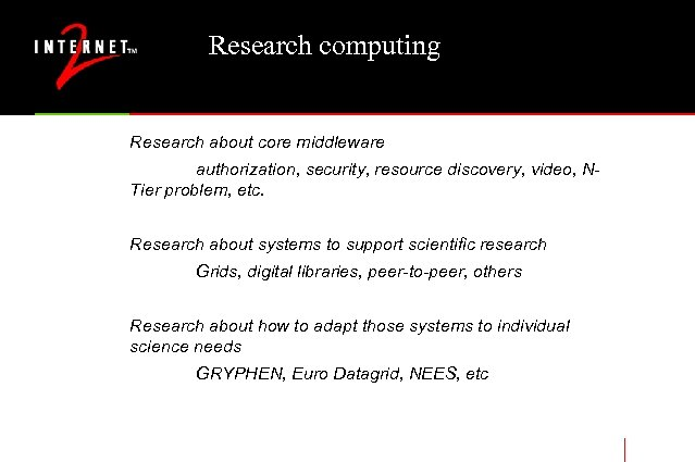 Research computing Research about core middleware authorization, security, resource discovery, video, NTier problem, etc.