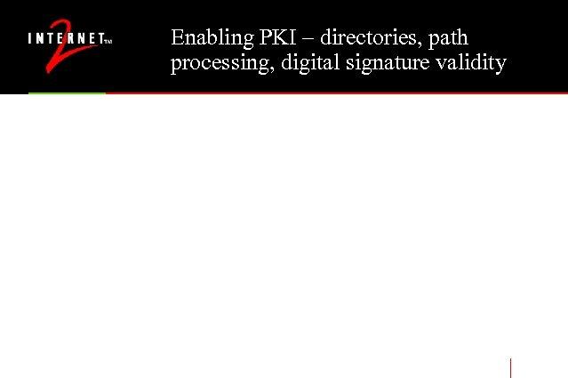 Enabling PKI – directories, path processing, digital signature validity