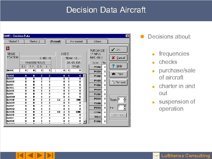 Decision Data Aircraft l Decisions about: n n n frequencies checks purchase/sale of aircraft