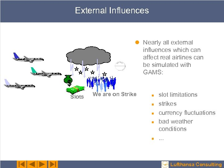 External Influences l Nearly all external influences which can affect real airlines can be