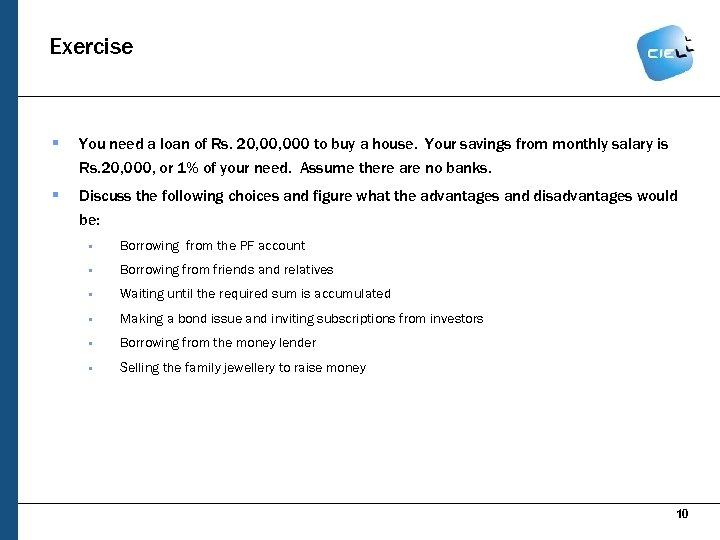 Exercise § You need a loan of Rs. 20, 000 to buy a house.