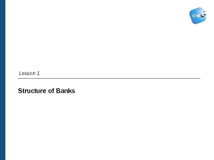 Lesson 1 Structure of Banks