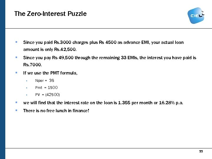 The Zero-Interest Puzzle § Since you paid Rs. 3000 charges plus Rs 4500 as