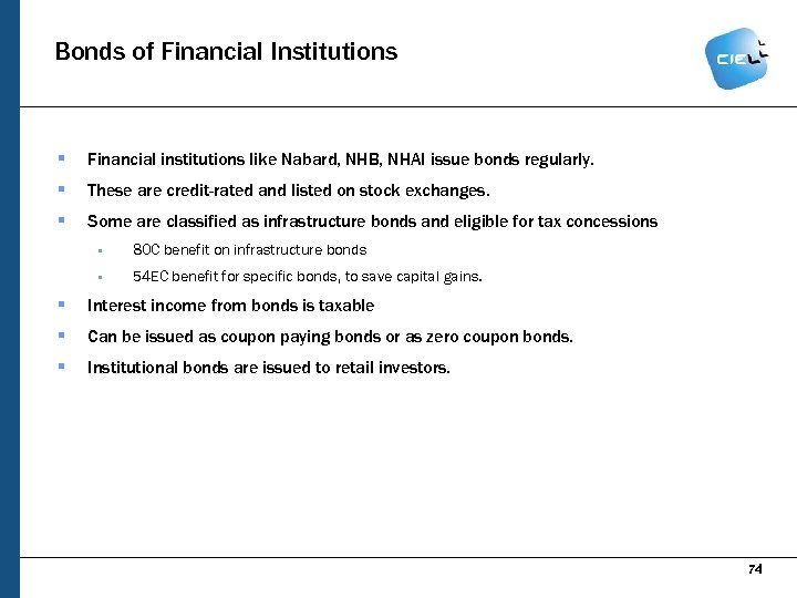Bonds of Financial Institutions § Financial institutions like Nabard, NHB, NHAI issue bonds regularly.