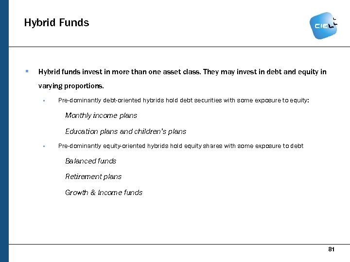 Hybrid Funds § Hybrid funds invest in more than one asset class. They may