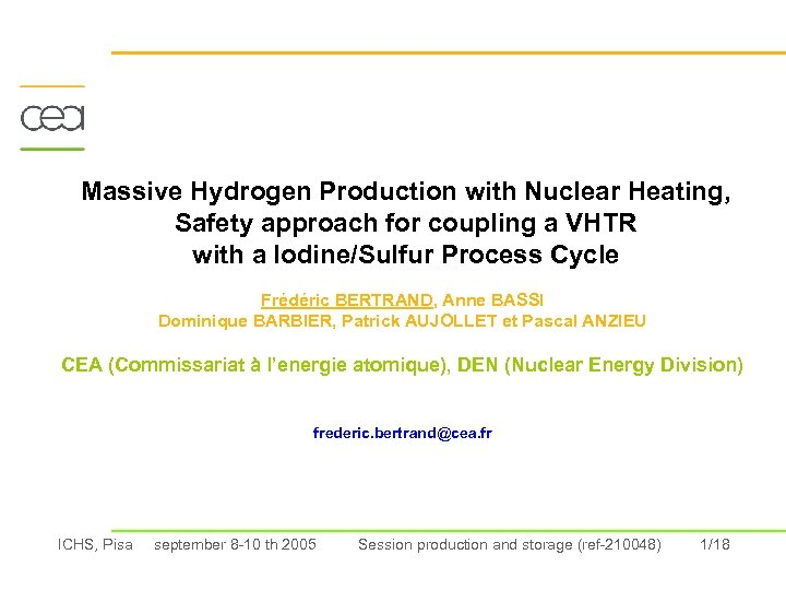 Massive Hydrogen Production with Nuclear Heating, Safety approach for coupling a VHTR with a