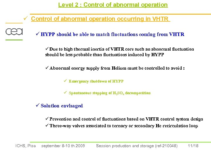 Level 2 : Control of abnormal operation ü Control of abnormal operation occurring in