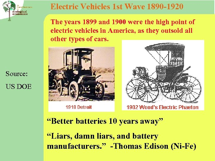 Electric Vehicles 1 st Wave 1890 -1920 The years 1899 and 1900 were the