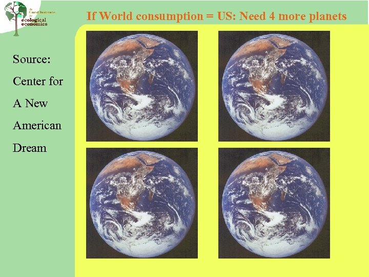 If World consumption = US: Need 4 more planets Source: Center for A New