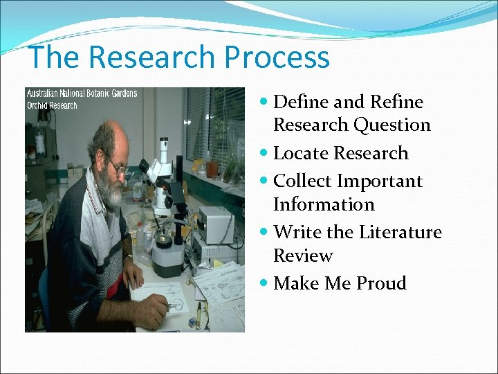 The Research Process Define and Refine Research Question Locate Research Collect Important Information Write