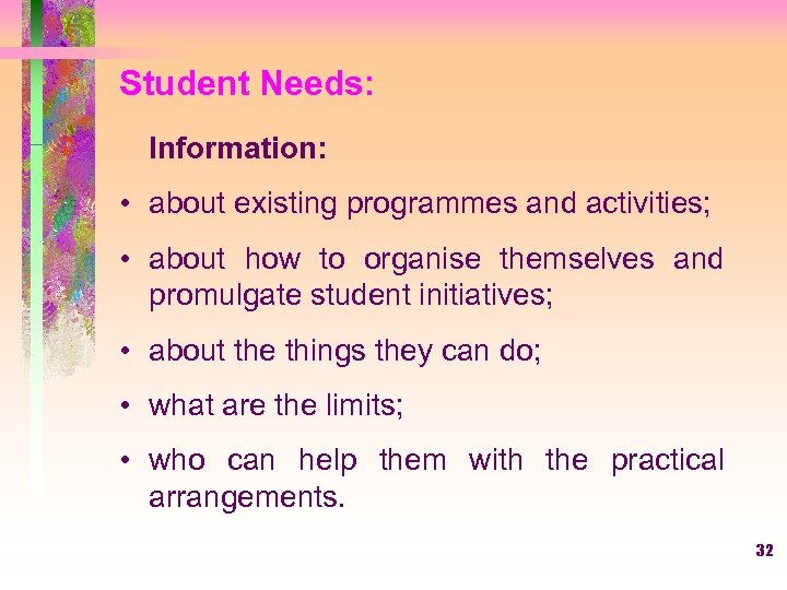 Student Needs: Information: • about existing programmes and activities; • about how to organise