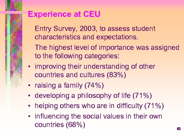 Experience at CEU • • • Entry Survey, 2003, to assess student characteristics and