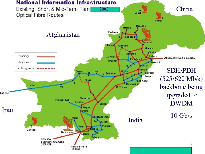 China 2002 Afghanistan SDH/PDH (525/622 Mb/s) backbone being upgraded to DWDM Iran India Status