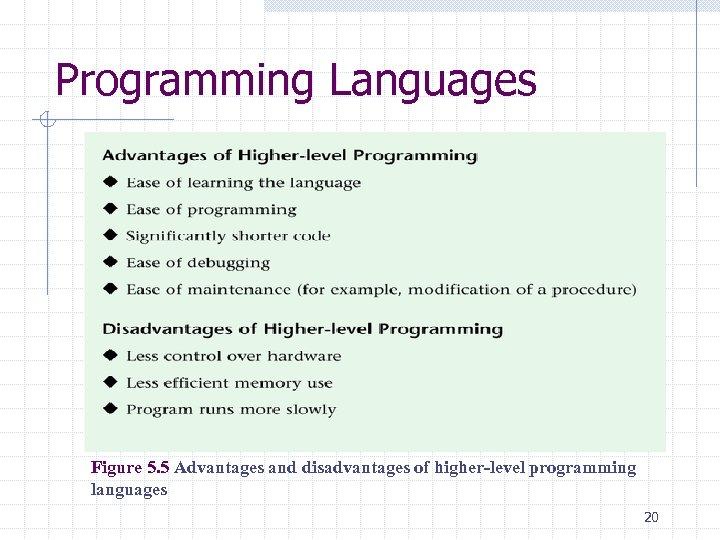 Programming Languages Figure 5. 5 Advantages and disadvantages of higher-level programming languages 20